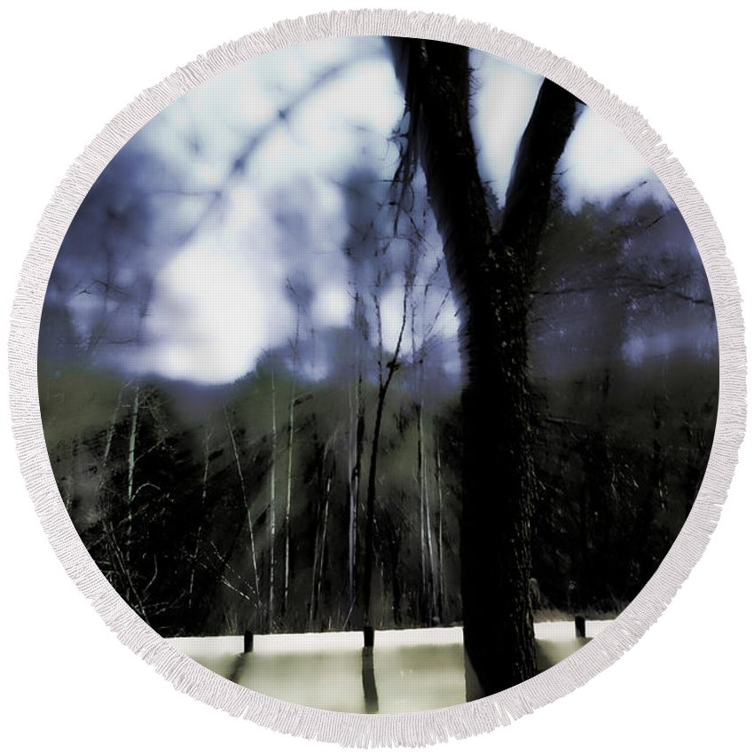 Landscape Round Beach Towel featuring the photograph The All-knowing by Lauren Radke