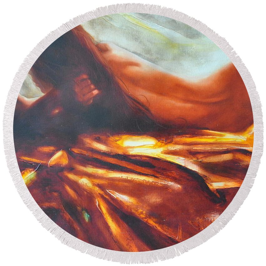 Painting Round Beach Towel featuring the painting The Amber Speck Of Light by Sergey Ignatenko