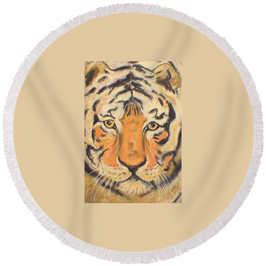 Pastel Round Beach Towel featuring the drawing The Amber Stare by Cori Solomon