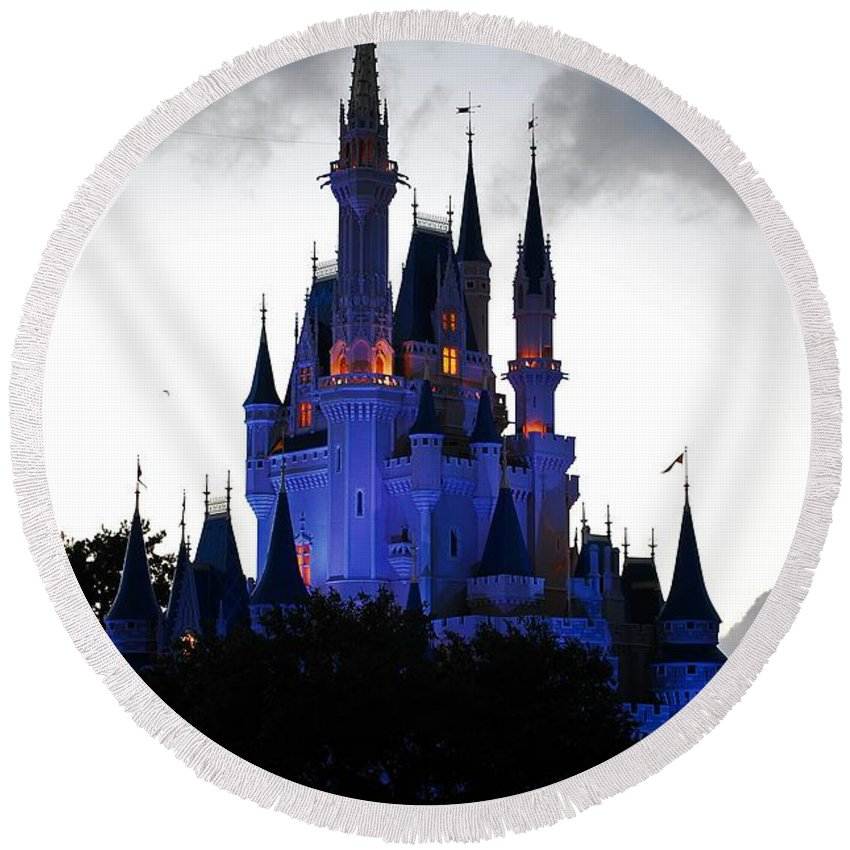 Disney Round Beach Towel featuring the photograph The Amethyst Palace by Robert Meanor