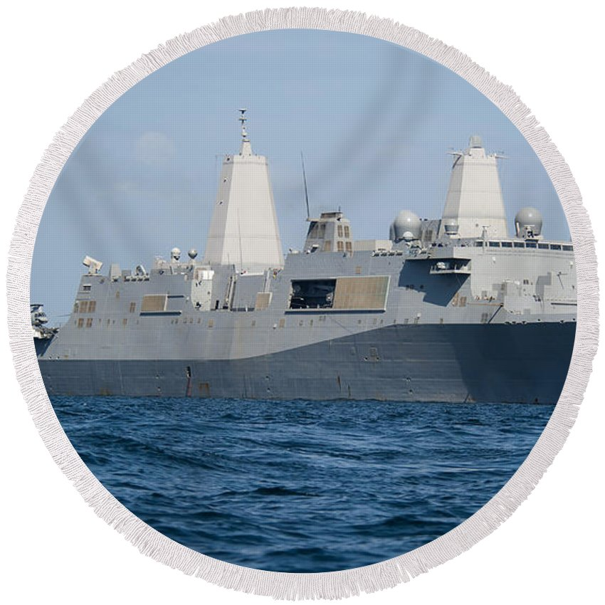 Uss New Orleans Round Beach Towel featuring the photograph The Amphibious Transport Dock Ship Uss by Stocktrek Images