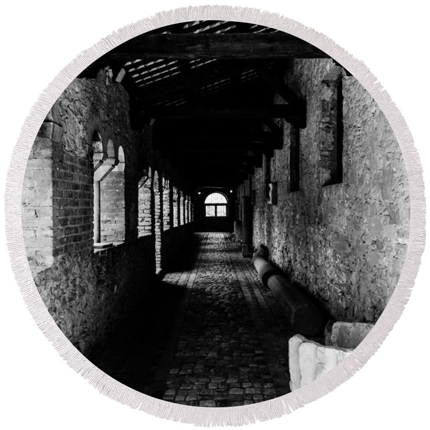 Fossacesia Round Beach Towel featuring the photograph The Ancient Cloister 3 by Andrea Mazzocchetti