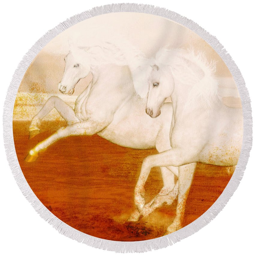 Horses Round Beach Towel featuring the painting The Andalusians by Valerie Anne Kelly