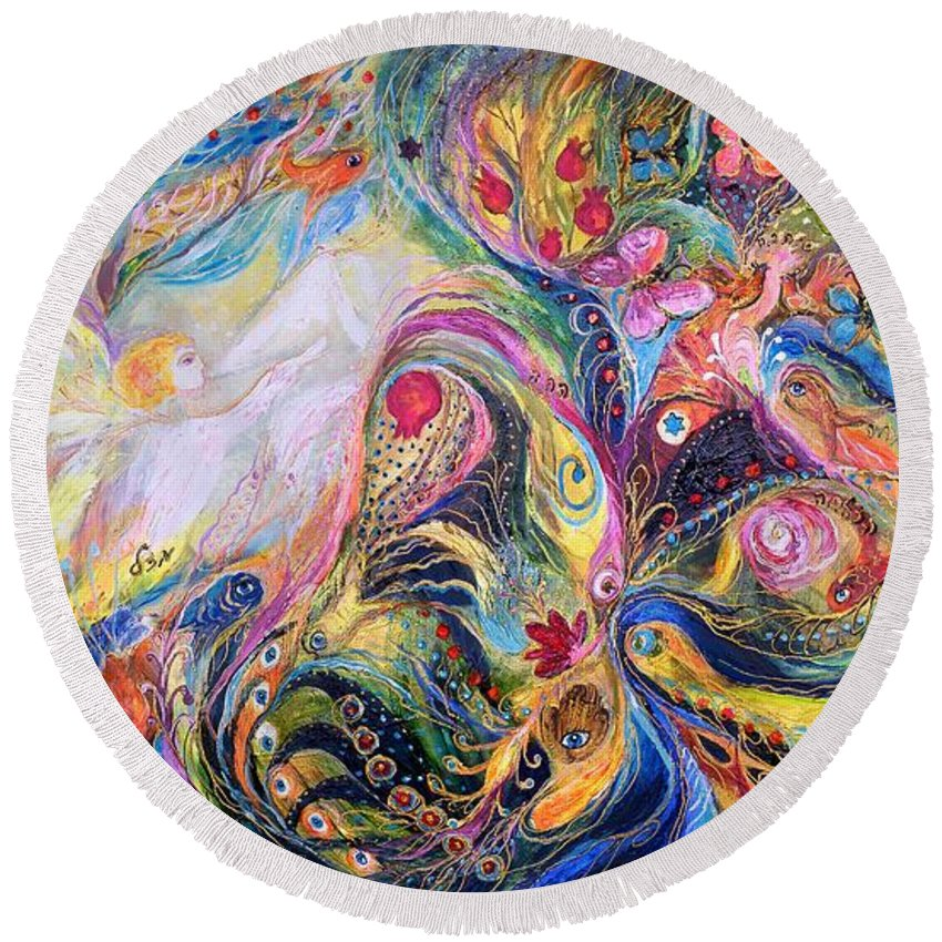 Original Round Beach Towel featuring the painting The Angel Of Flowers by Elena Kotliarker