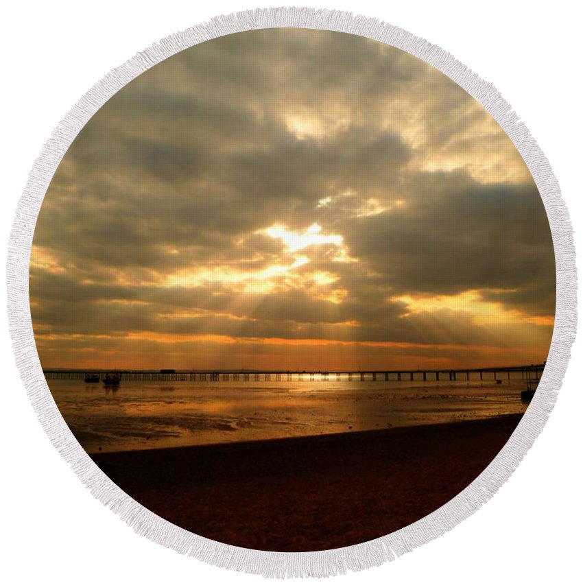 Hdr Round Beach Towel featuring the photograph The Angels Are Calling by Vicki Spindler