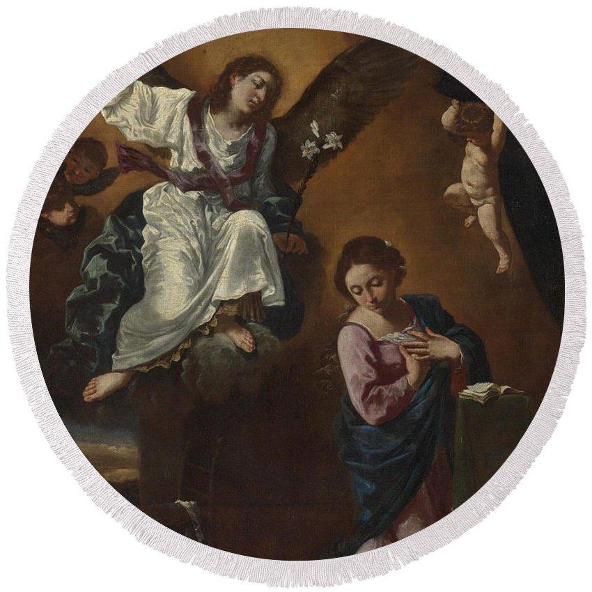 Flaminio Torri Round Beach Towel featuring the painting The Annunciation by Flaminio Torri