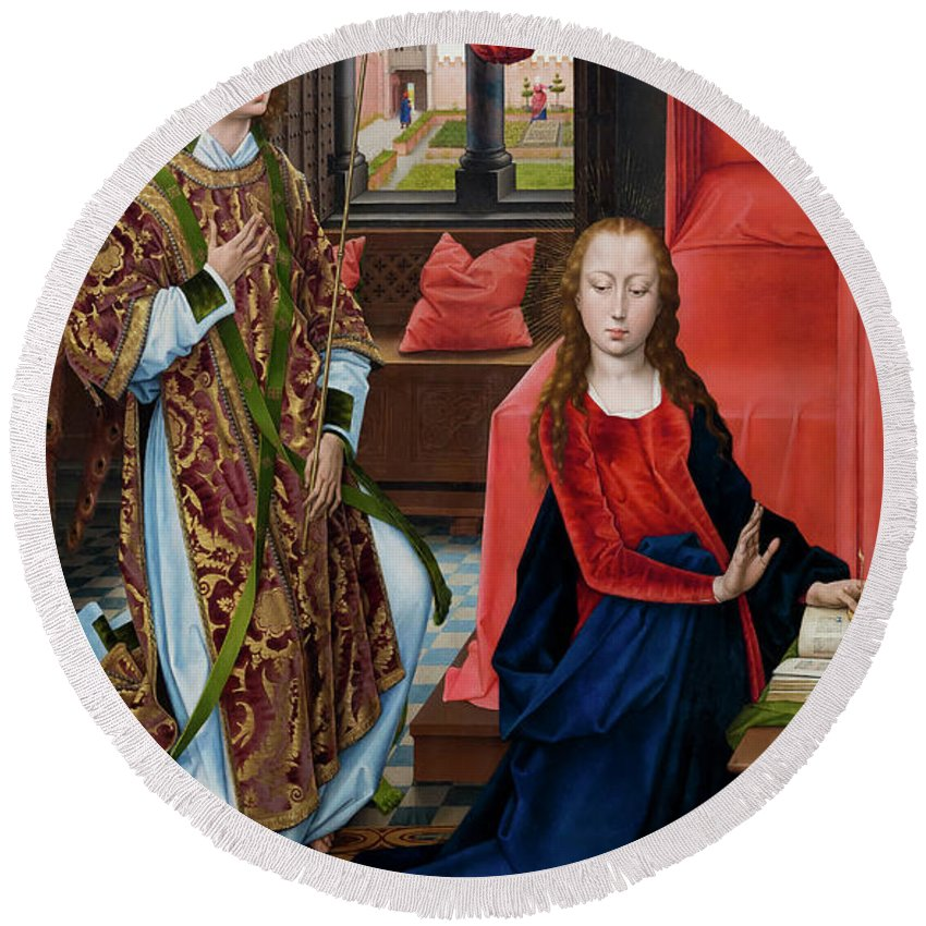 1465-1475 Round Beach Towel featuring the photograph The Annunciation by Peter Barritt