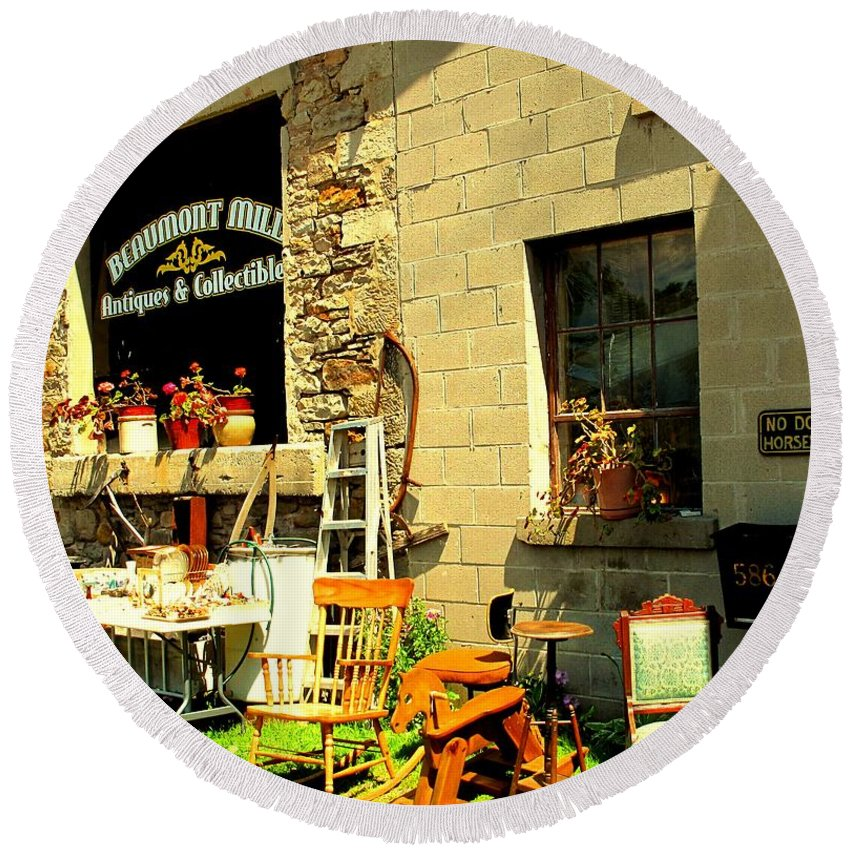 Antique Round Beach Towel featuring the photograph The Antique Store by Ian MacDonald