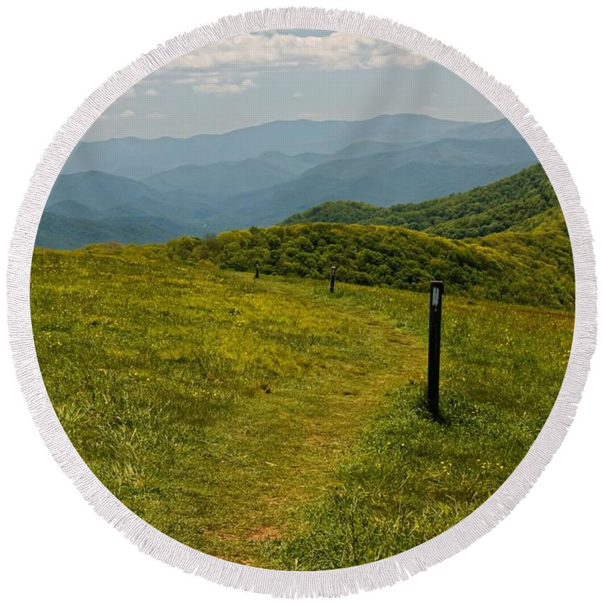 Landscape Round Beach Towel featuring the photograph The Appalachian Trail Crossing Max Patch by David Rowe