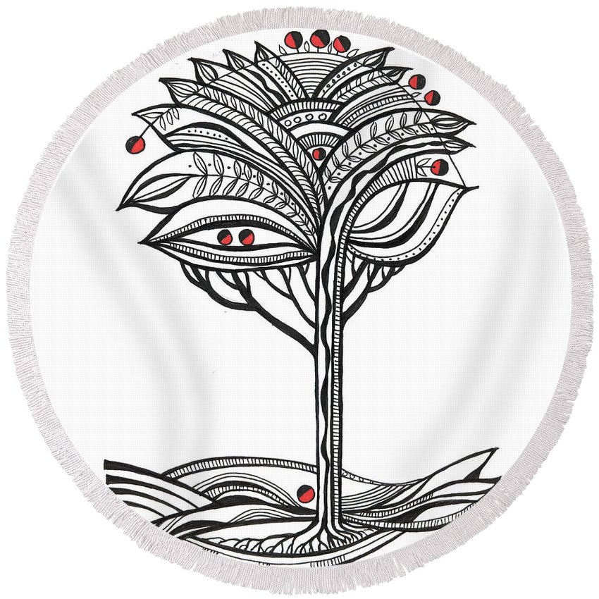 Abstract Round Beach Towel featuring the drawing The Apple Tree by Aniko Hencz