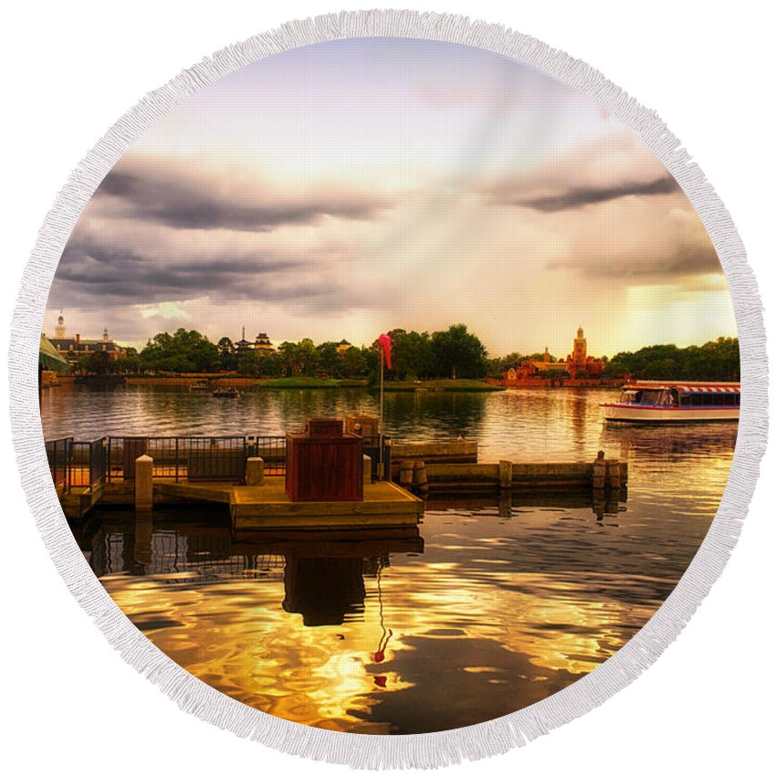 Epcot Round Beach Towel featuring the photograph The Approaching Storm Walt Disney World by Thomas Woolworth