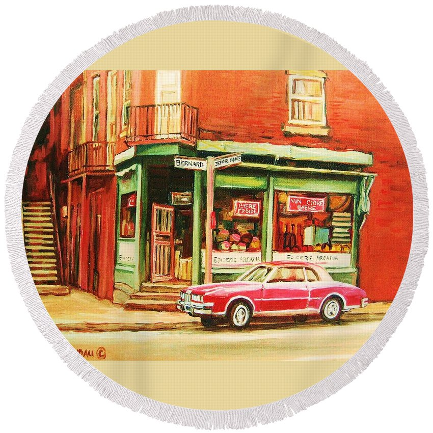 Montreal Round Beach Towel featuring the painting The Arcadia Five And Dime Store by Carole Spandau