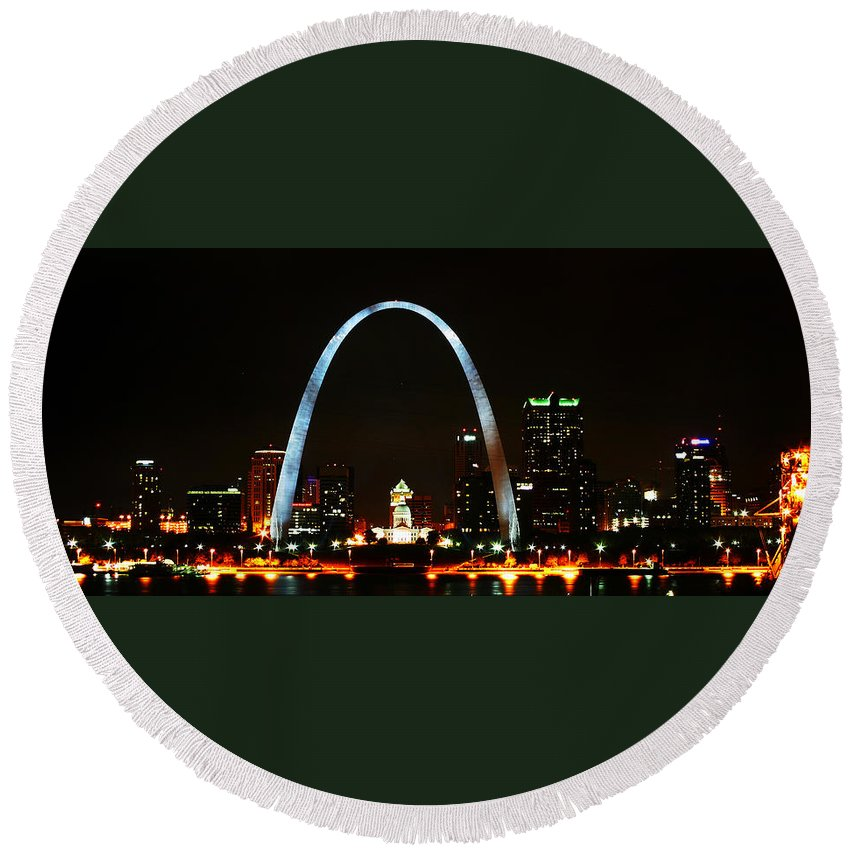 St Louis Round Beach Towel featuring the photograph The Arch by Anthony Jones