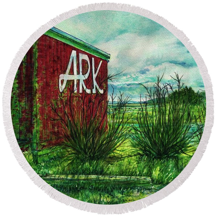 Long Beach Peninsula Round Beach Towel featuring the painting The Ark Wa. by Cynthia Pride