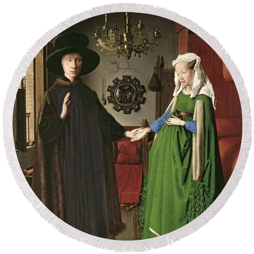 The Round Beach Towel featuring the painting The Arnolfini Marriage by Jan van Eyck