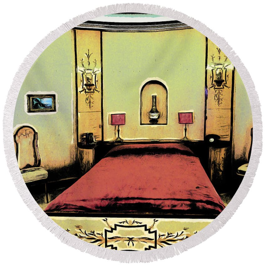 Art Round Beach Towel featuring the photograph The Art Deco Bedroom by Steve Taylor
