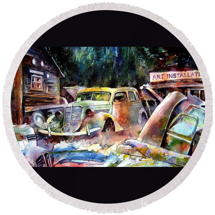 Cars Round Beach Towel featuring the painting The Art Installation by Ron Morrison