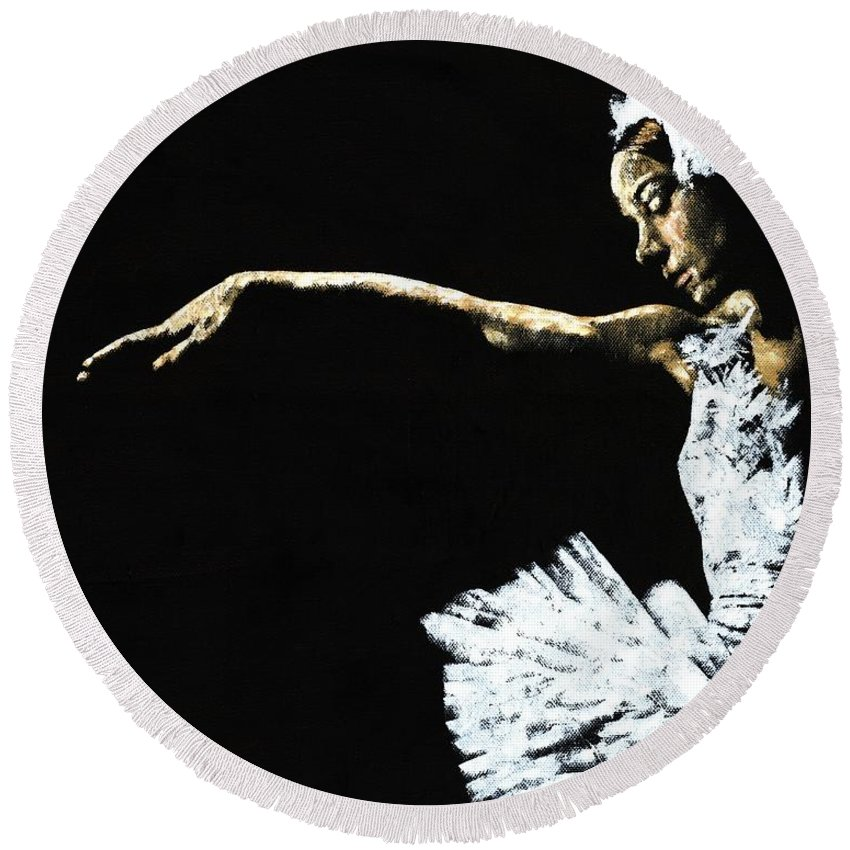Ballet Round Beach Towel featuring the painting The Art Of Grace by Richard Young