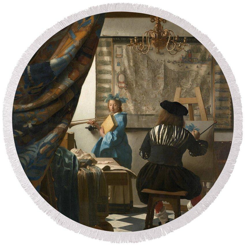 Jan Vermeer Round Beach Towel featuring the painting The Art Of Painting by Jan Vermeer