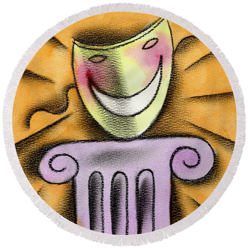 Acting Advertisement Advertising Amusement Bluffing Camouflage Color Colour Column Comedy Concealing Delighted Disguise Displaying Dramatic Eagerness Entertainment Enthusiasm Excitement Exhibiting Funny Graphic Design Happy Hiding Humor Idealism Illustration Mask Melodrama Optimism Orange Performing Performing Arts Pillar Pretending Reading Recreation Smiling Square Theatrical Round Beach Towel featuring the painting The Art Of Smiling by Leon Zernitsky