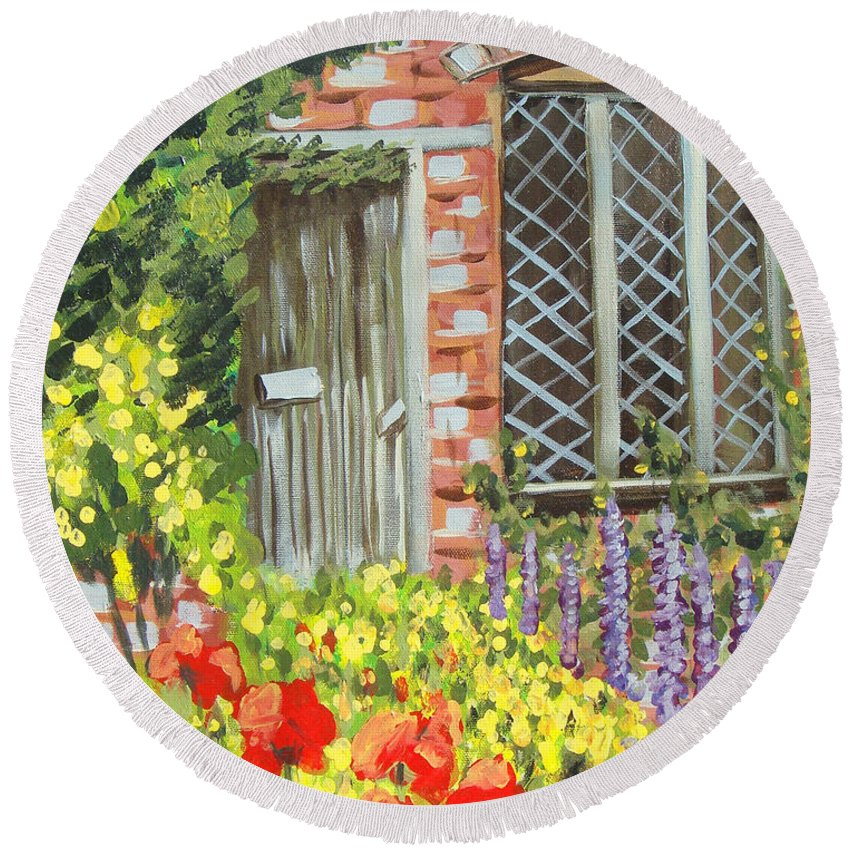 Windows Round Beach Towel featuring the painting The Artist's Cottage by Laurie Morgan
