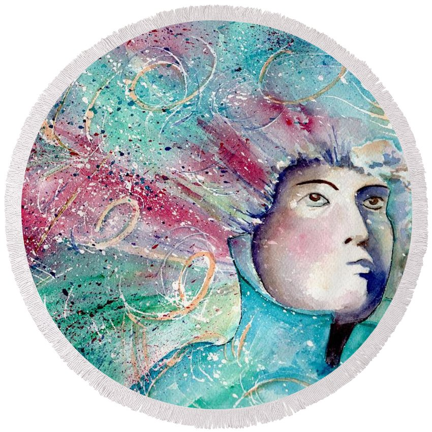 Watercolor Round Beach Towel featuring the painting The Artist's Mind by Brenda Owen