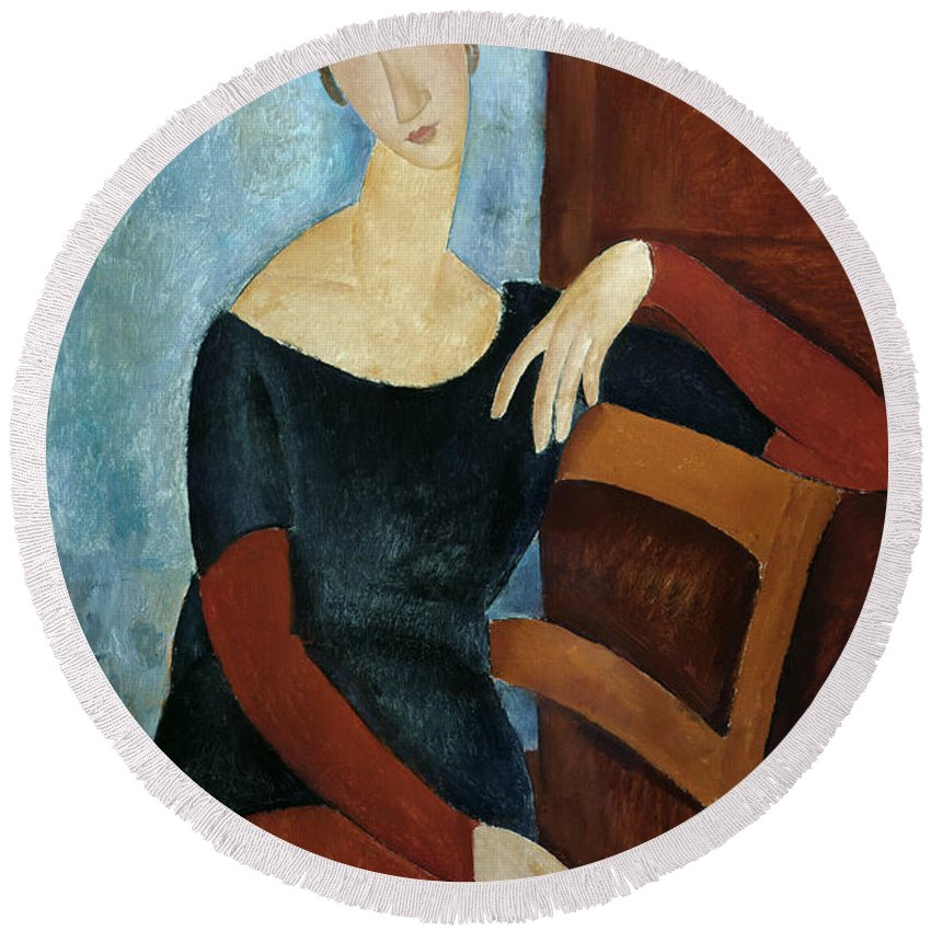 The Round Beach Towel featuring the painting The Artist's Wife by Amedeo Modigliani
