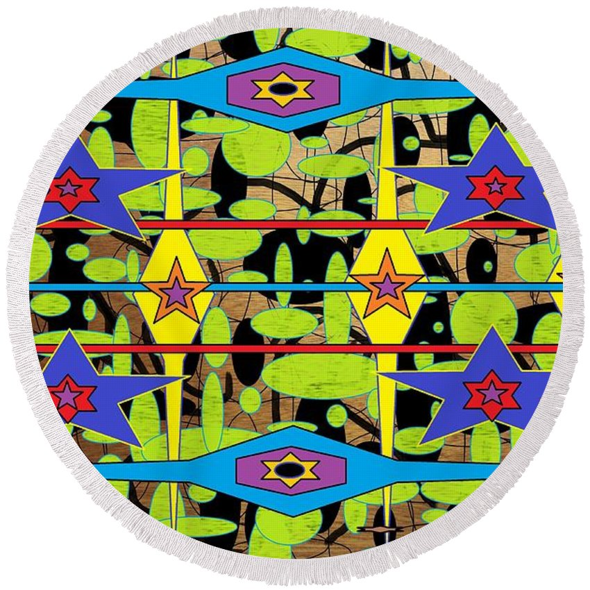 Abstract Round Beach Towel featuring the digital art The Arts Of Textile Designs #28 by Mbonu Emerem