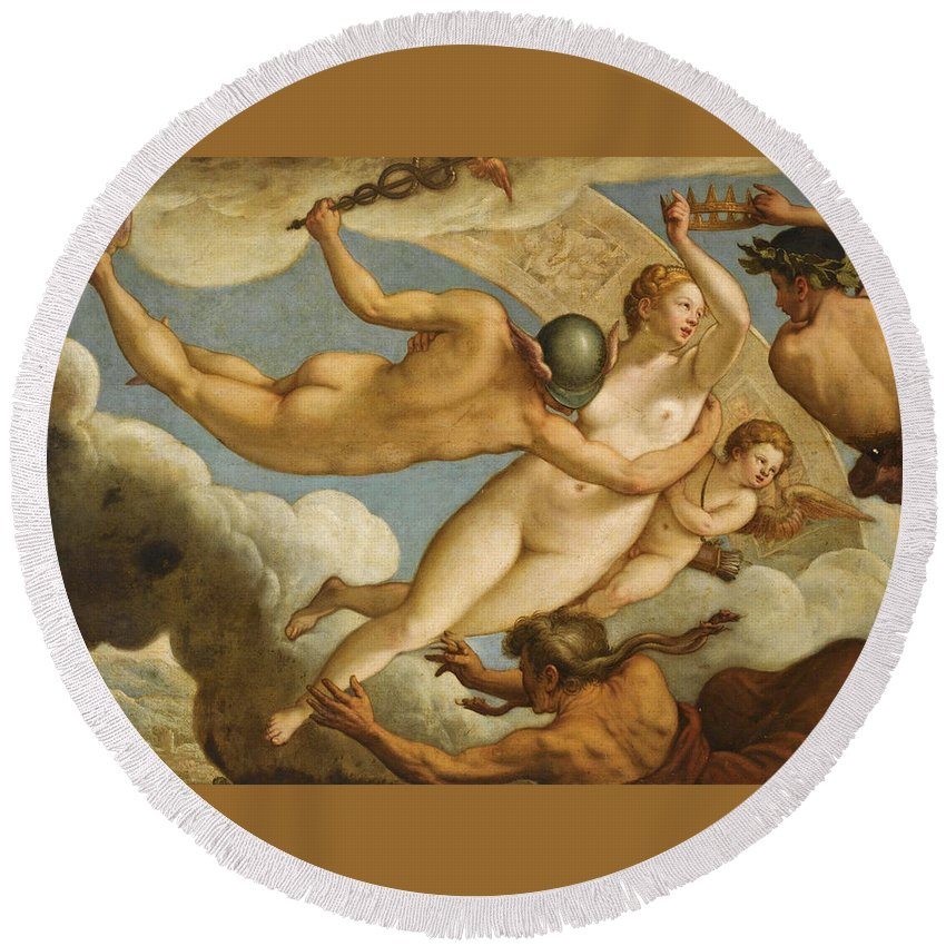 Paolo Fiammingo Round Beach Towel featuring the painting The Ascension Of Virtue by Paolo Fiammingo