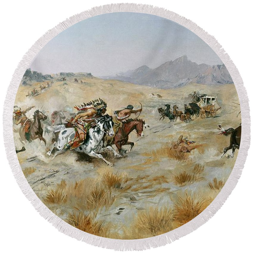 Bows Round Beach Towel featuring the painting The Attack by Charles Marion Russell