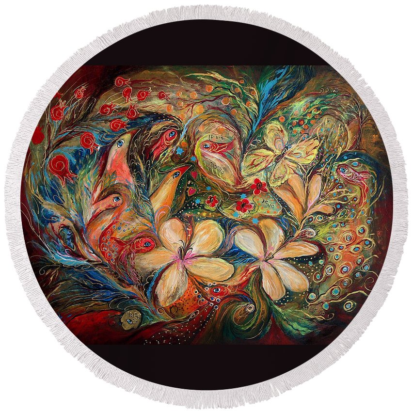 Original Round Beach Towel featuring the painting The Autumn Wind by Elena Kotliarker