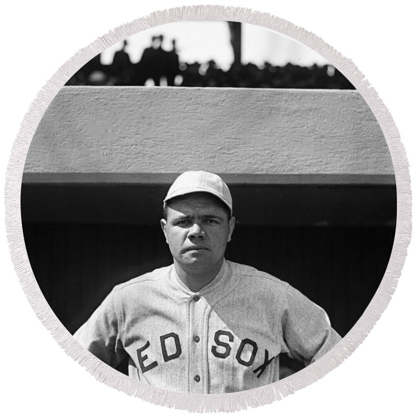 babe Ruth Round Beach Towel featuring the photograph The Babe - Red Sox by International Images