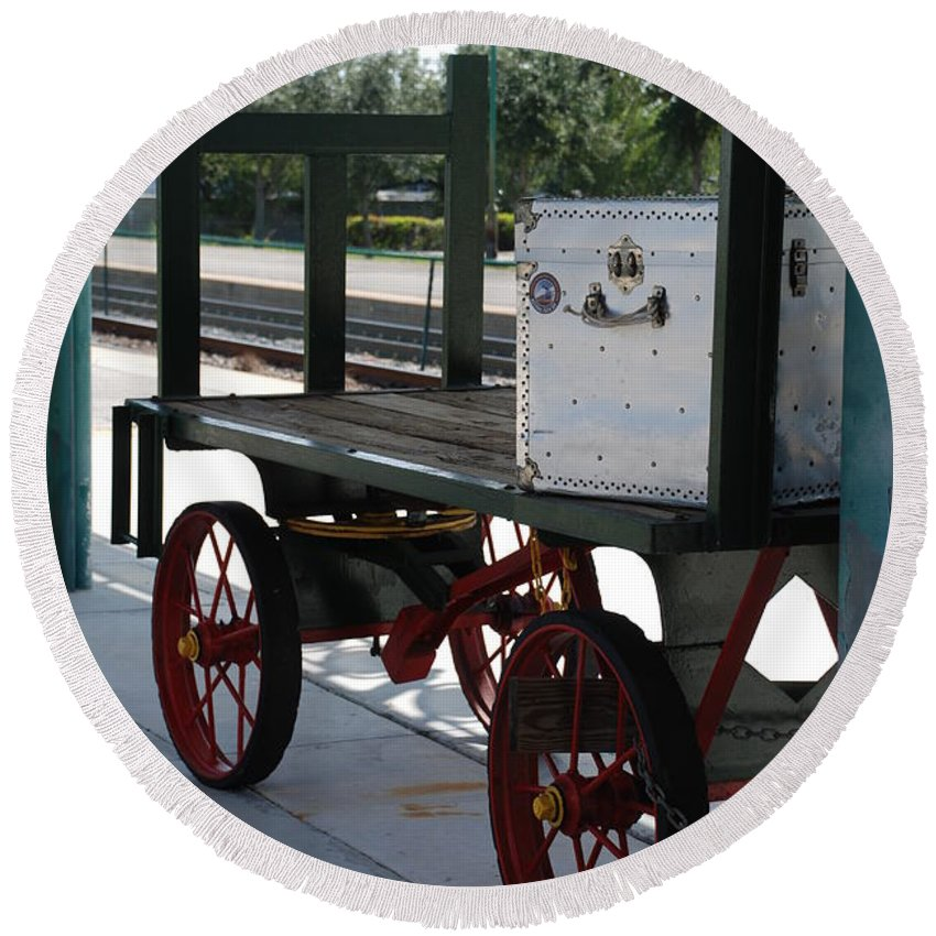 Train Station Round Beach Towel featuring the photograph The Baggage Cart And Truck by Rob Hans