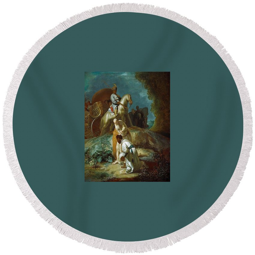 Underwater Round Beach Towel featuring the digital art The Baptism Of The Eunuch After Rembrandt Harmenszoon Van Rijn by Eloisa Mannion