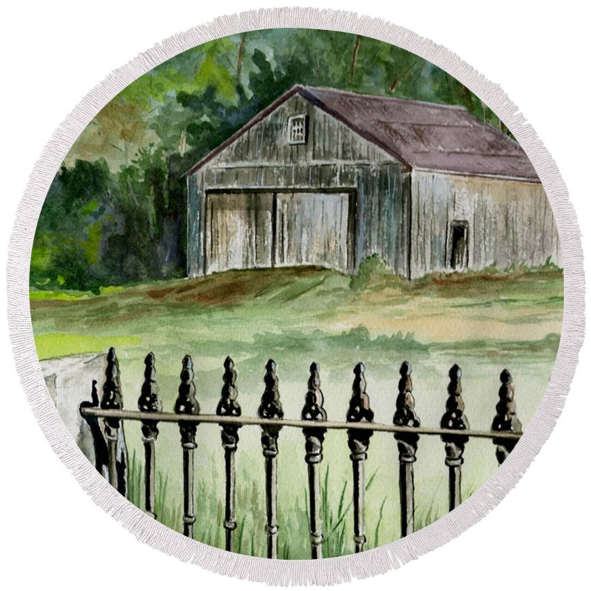 Landscape Round Beach Towel featuring the painting The Barn At Parsonsfield Maine by Brenda Owen