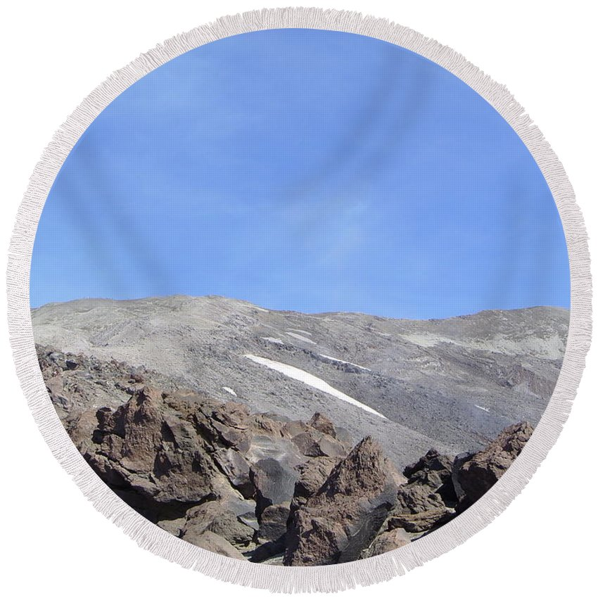 Mt St Helens.mountains Round Beach Towel featuring the photograph The Base Of Mt St Helens by Jeff Swan