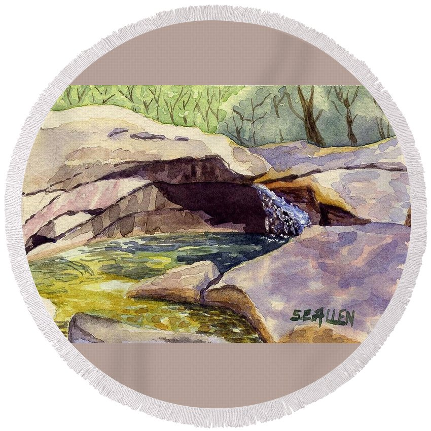 The Basin Round Beach Towel featuring the painting The Basin by Sharon E Allen