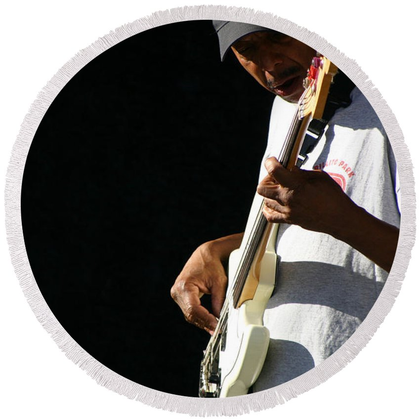 Guitar Round Beach Towel featuring the photograph The Bassman by Joe Kozlowski