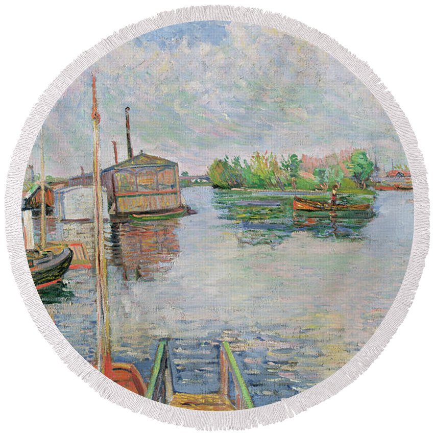 The Round Beach Towel featuring the painting The Bateau Lavoir At Asnieres by Paul Signac