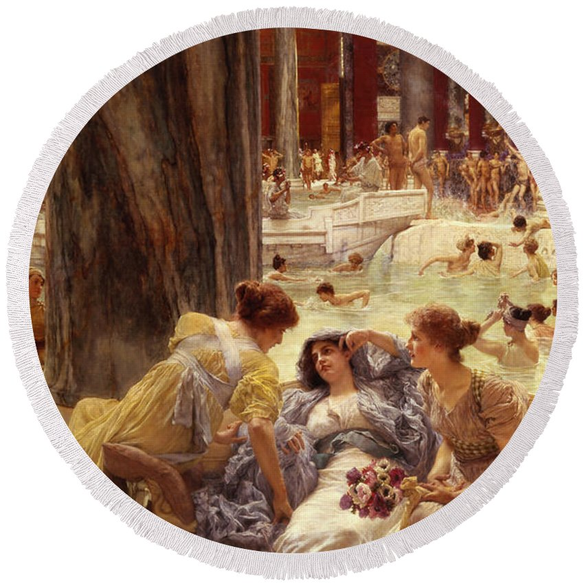 Baths Round Beach Towel featuring the painting The Baths Of Caracalla by Sir Lawrence Alma-Tadema
