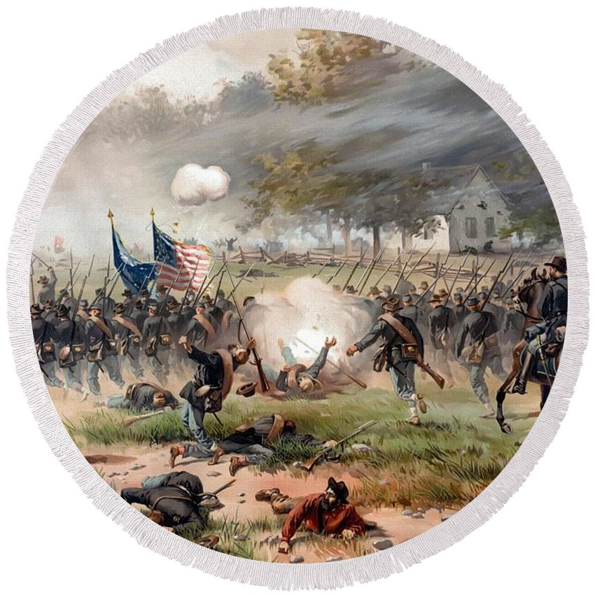 Civil War Round Beach Towel featuring the painting The Battle Of Antietam by War Is Hell Store