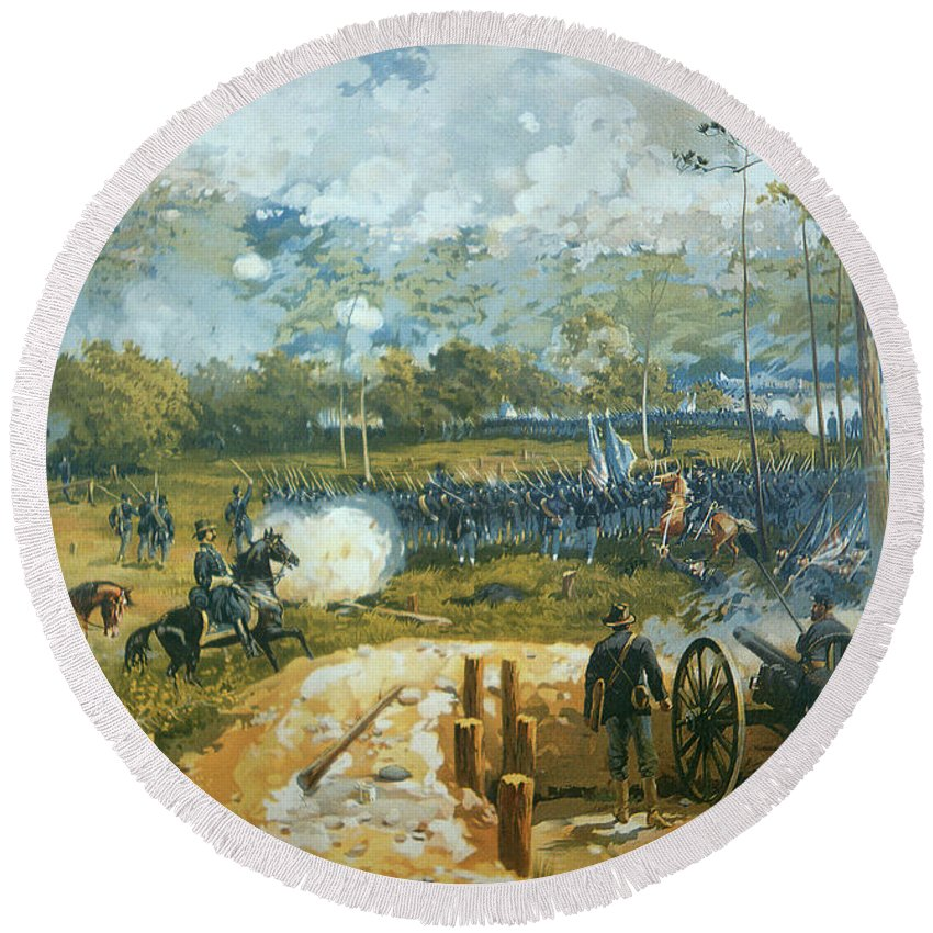 The Battle Of Kenesaw Mountain Round Beach Towel featuring the painting The Battle Of Kenesaw Mountain by American School