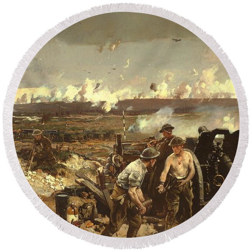Painting Round Beach Towel featuring the painting The Battle Of Vilmy Ridge by Mountain Dreams