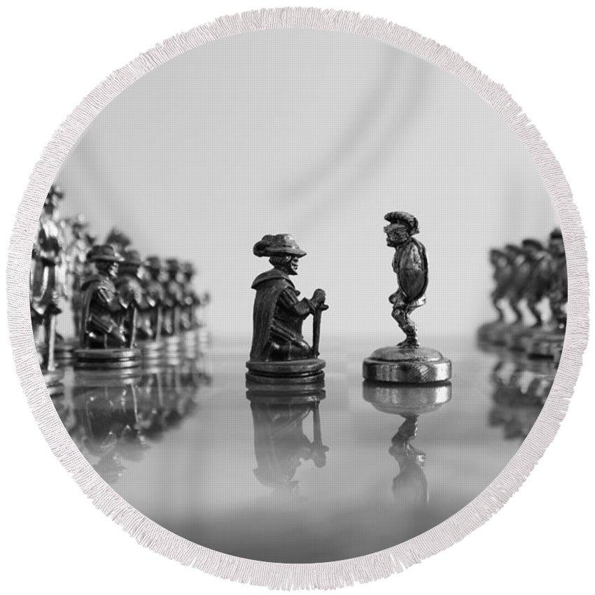 Chess Blackandwhite Black White War Battle Round Beach Towel featuring the photograph The Battle Will Start by Matteo Patti