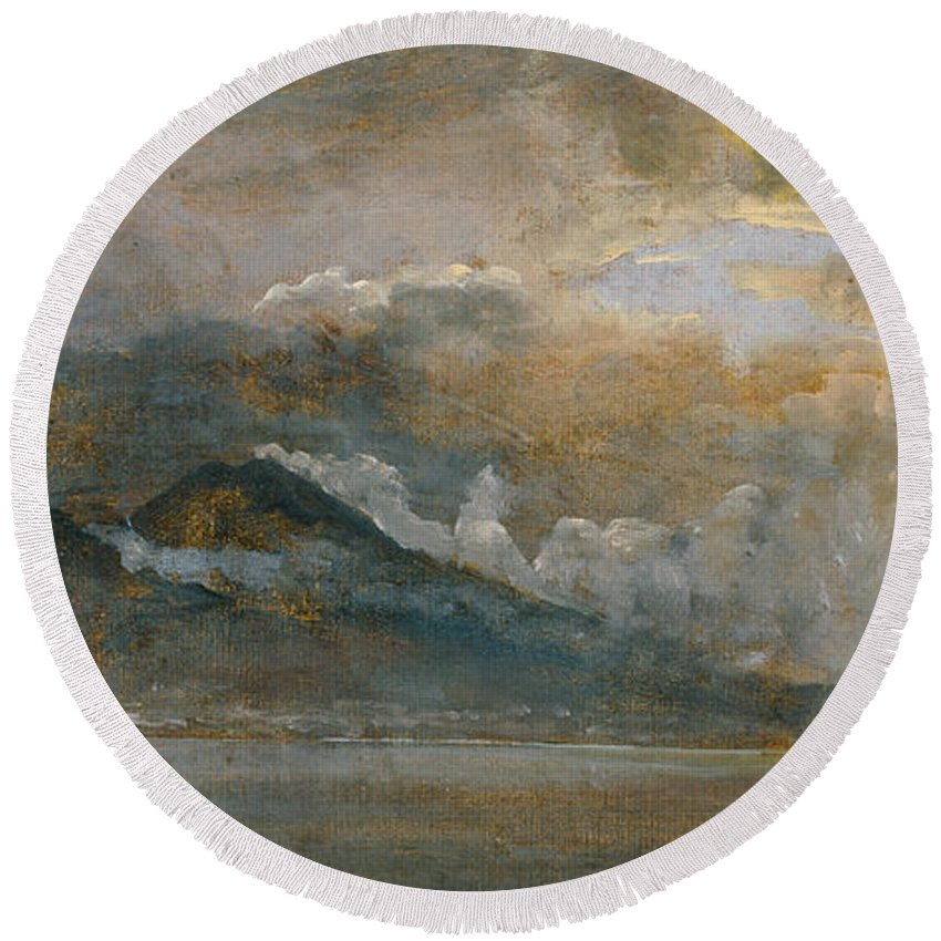 Johan Christian Dahl Round Beach Towel featuring the painting The Bay Of Naples With Vesuvius by Johan Christian Dahl