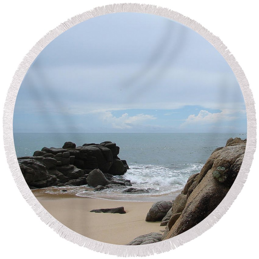 Sand Ocean Clouds Blue Sky Rocks Round Beach Towel featuring the photograph The Beach 2 by Luciana Seymour