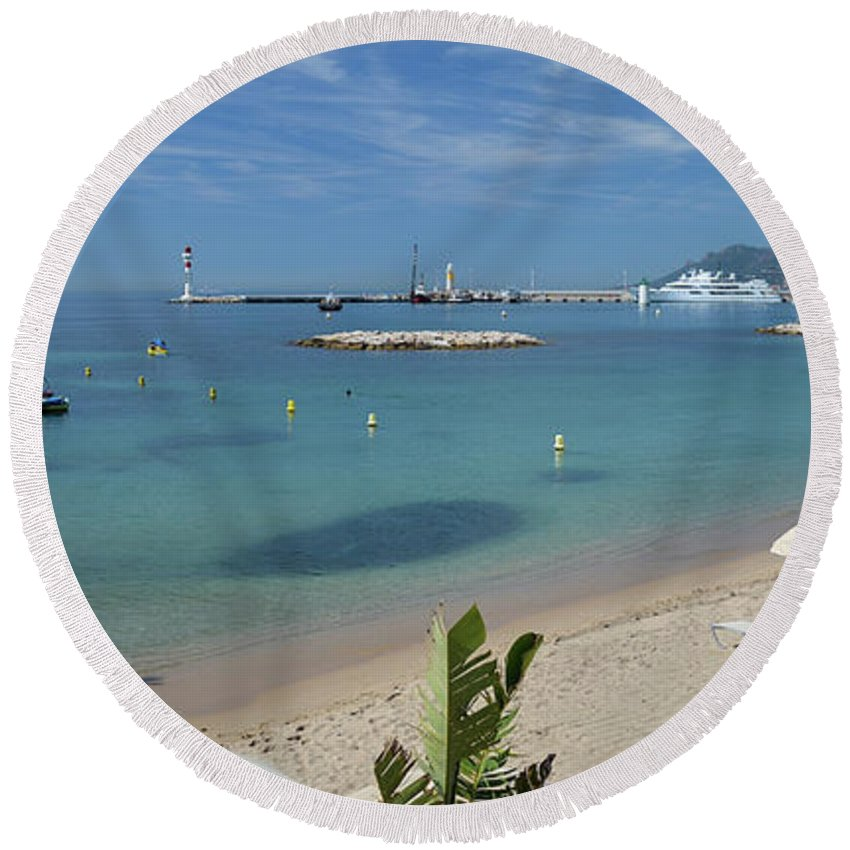 Seascape Round Beach Towel featuring the photograph The Beach At Cannes by Allen Sheffield