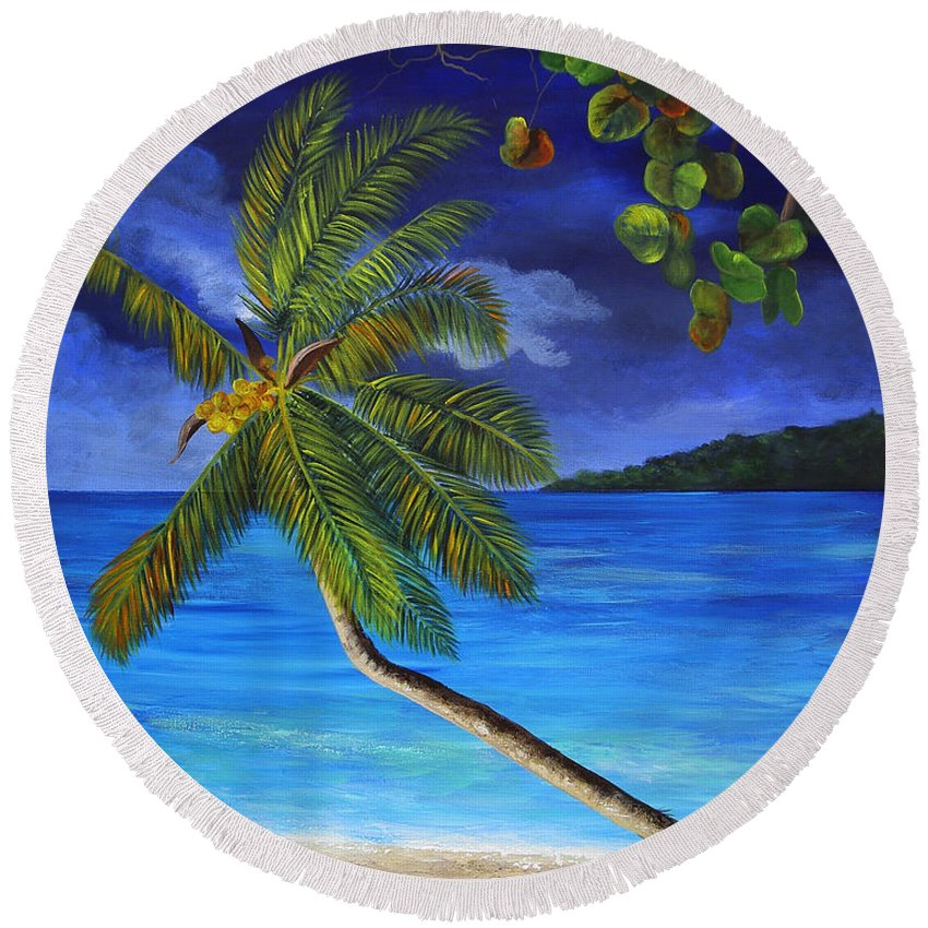 Beach Round Beach Towel featuring the painting The Beach At Night by Dominica Alcantara