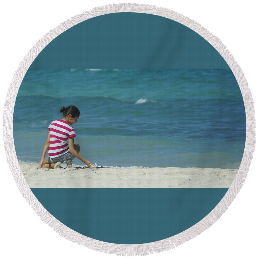 Youth Round Beach Towel featuring the photograph The Beach by Jurq Studio
