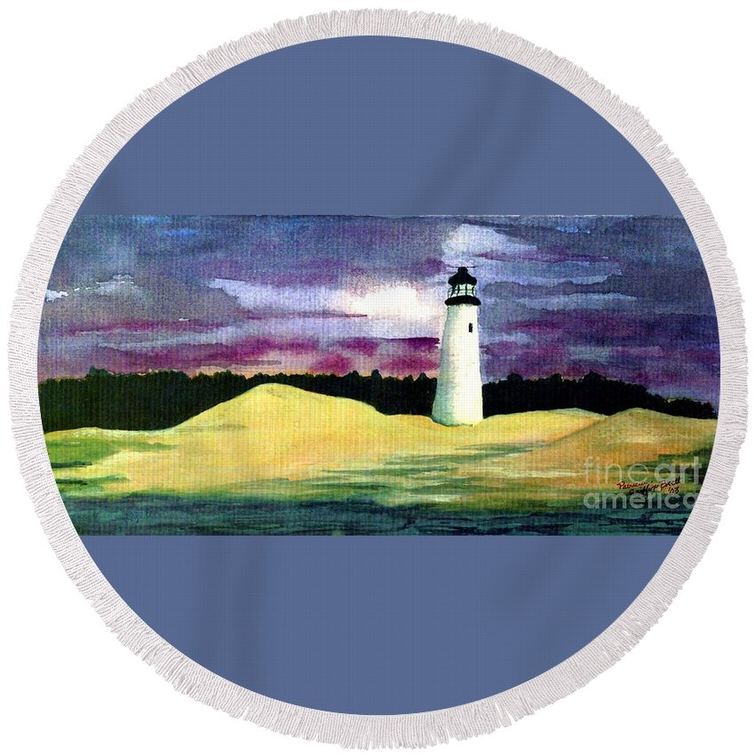 Fine Art Round Beach Towel featuring the painting The Beacon by Patricia Griffin Brett